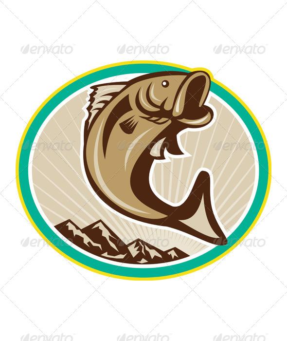 Largemouth Bass Jumping Circle - Animals Characters