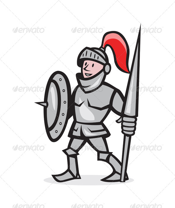 Knight Shield Holding Lance Cartoon - People Characters