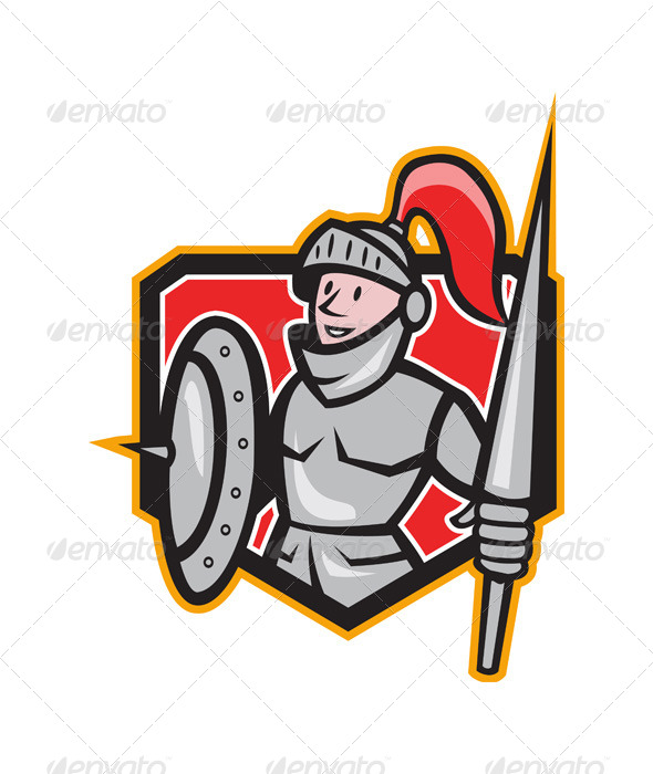 Knight Shield Lance Crest Cartoon - People Characters