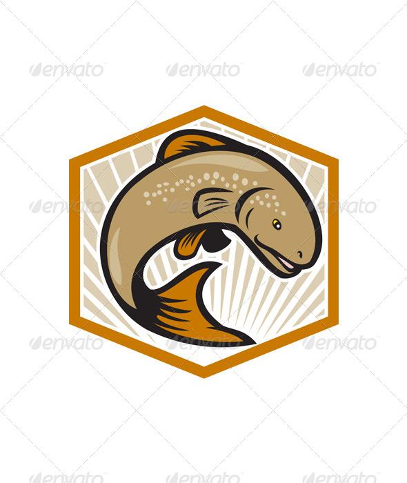 Trout Jumping Cartoon Shield - Animals Characters