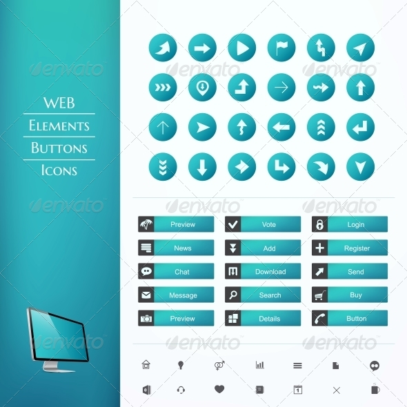 Set of Buttons and Icons - Web Elements Vectors