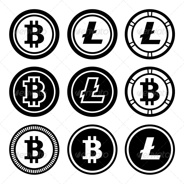 Bitcoin and Litecoin Icons Set - Services Commercial / Shopping