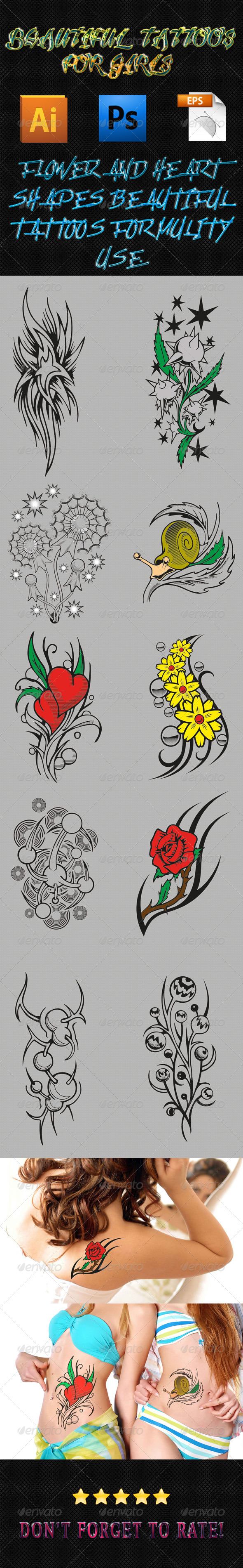 Girls Tattoos 03 - Tattoos Vectors