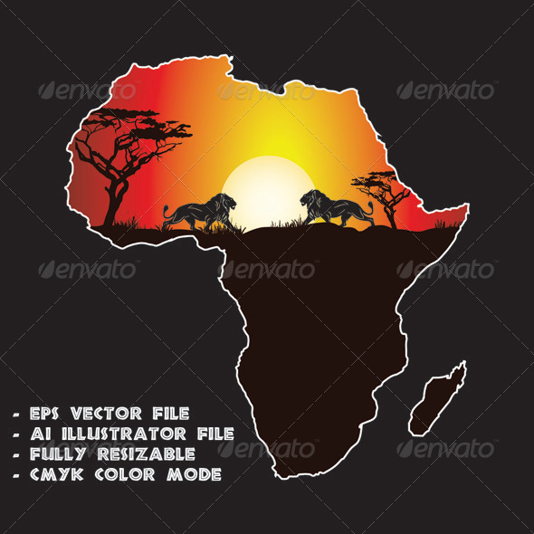 Sunset in Africa - Travel Conceptual