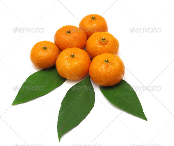 Ripe tangerines or mandarin with leaf isolated on white backgrou - Stock Photo - Images