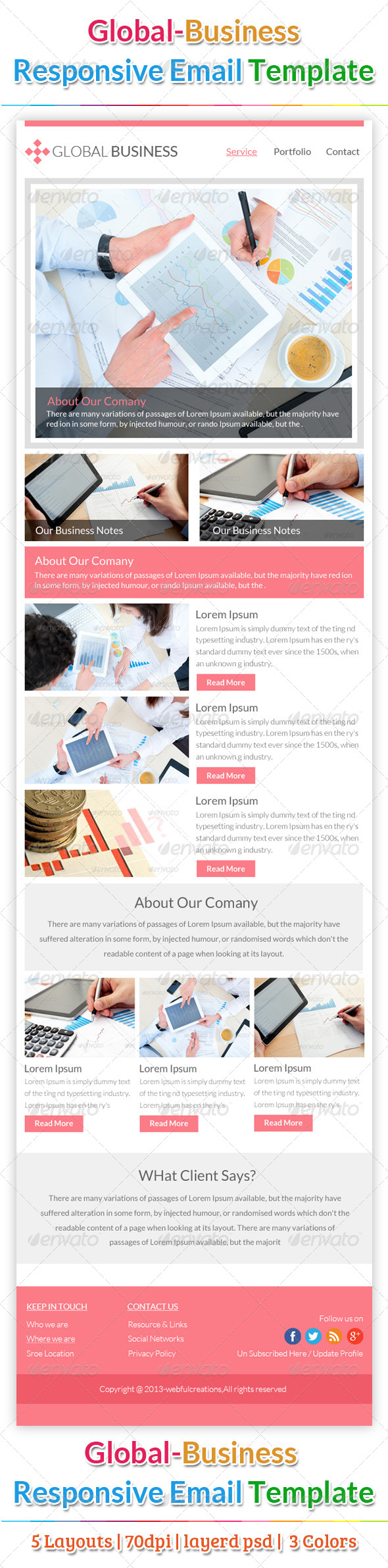 Global Business Email Template - E-newsletters Web Elements