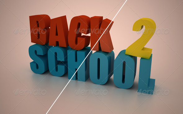 3D Back To School Text - Text 3D Renders