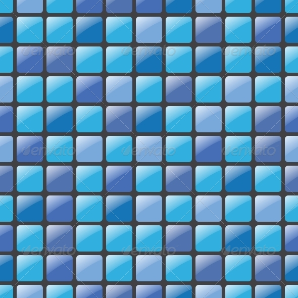Blue Mosaic Seamless Vector Pattern - Patterns Decorative