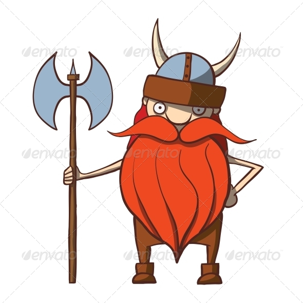 Funny Cartoon Viking with an Axe - People Characters