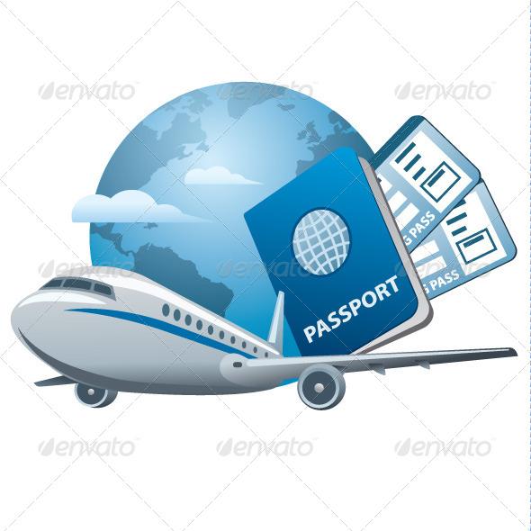 Air Travel Concept Icon - Vectors