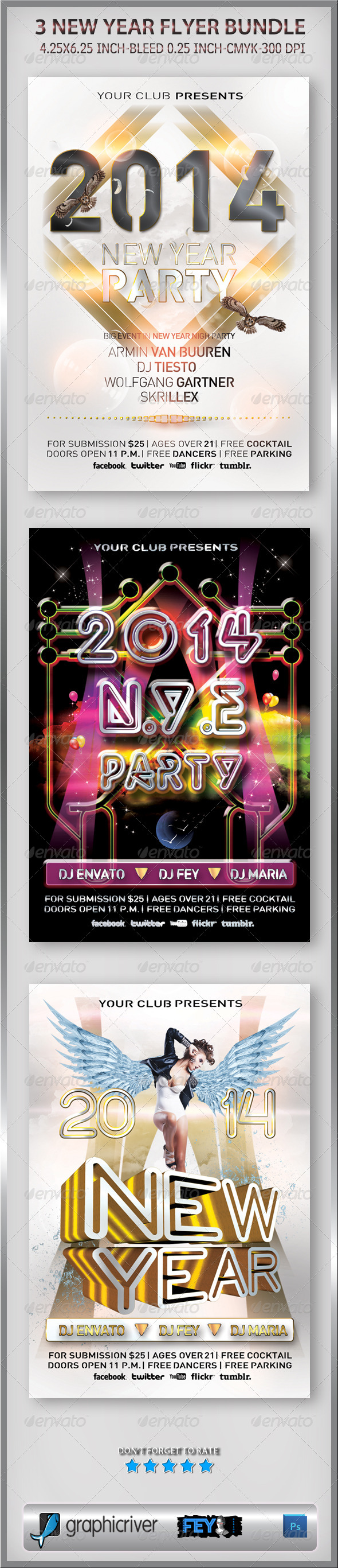 3 New Year Flyer Bundle - Events Flyers