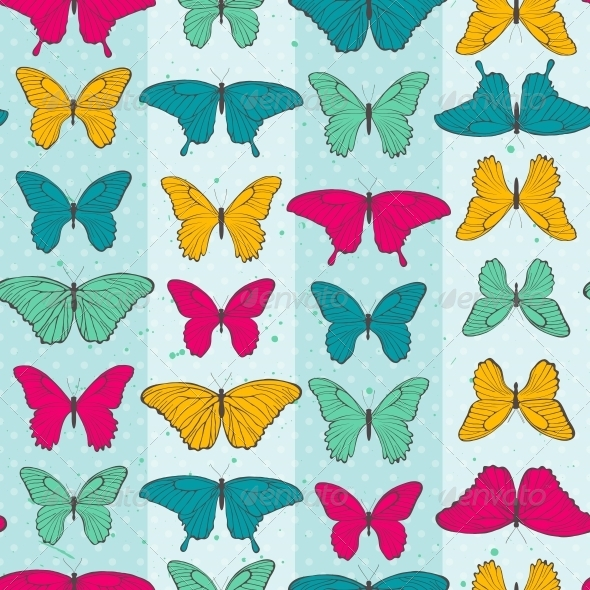 Seamless Pattern with Colorful Butterflies - Flowers & Plants Nature