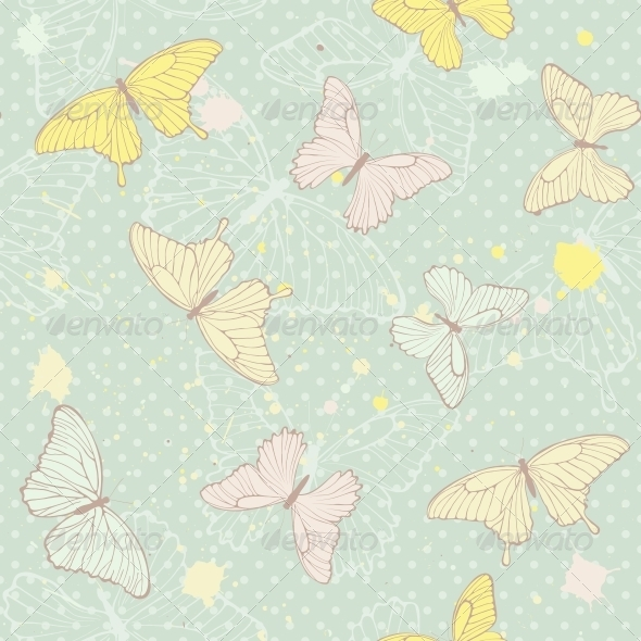 Delicate Seamless Pattern with Butterflies - Flowers & Plants Nature