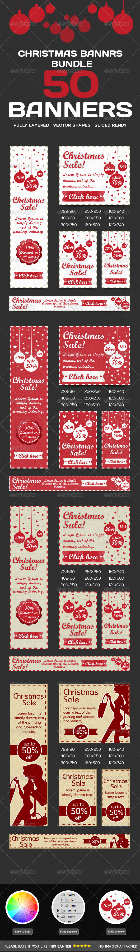 Christmas Banner Bundle - Banners & Ads Web Elements