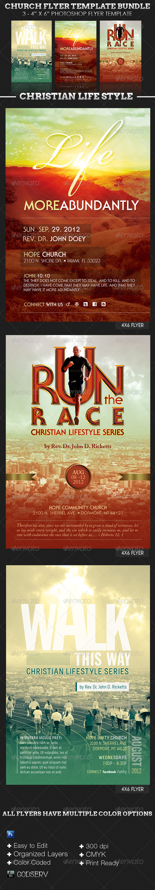 Christian Lifestyle Church Flyer Template Bundle - Church Flyers