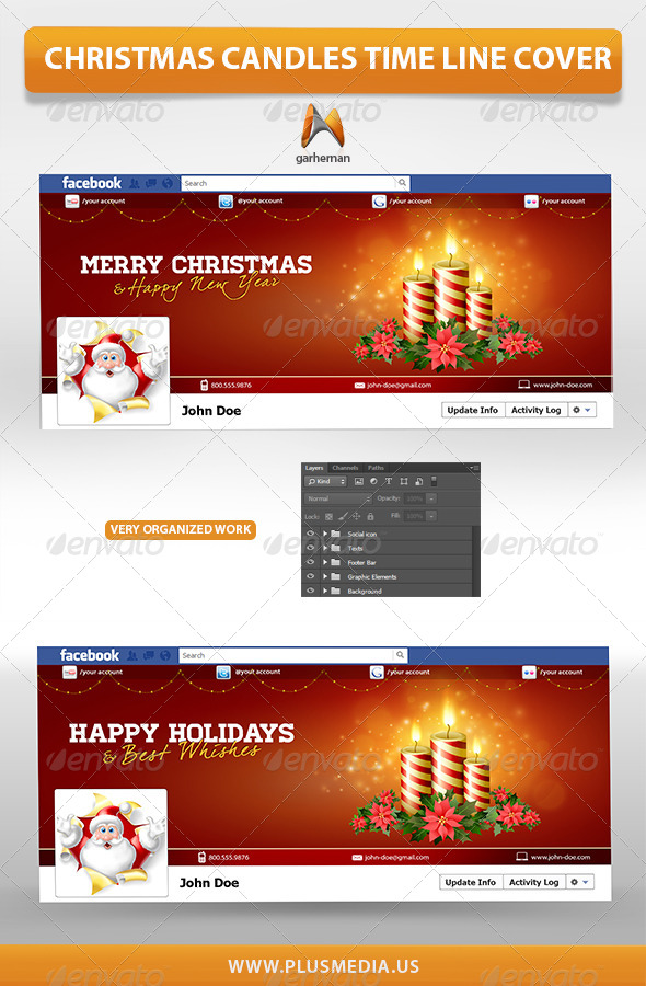 Christmas Candles Time Line Cover - Facebook Timeline Covers Social Media