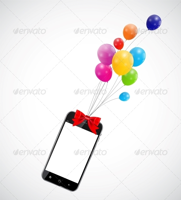 Color Glossy Balloons with Mobile Phone - Birthdays Seasons/Holidays
