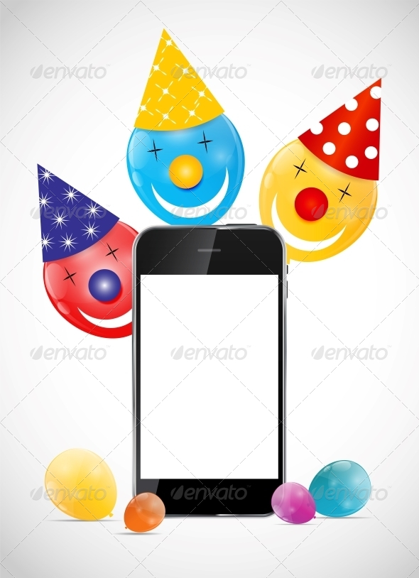 Color Glossy Balloons with Mobile Phone Vector Ill - Birthdays Seasons/Holidays