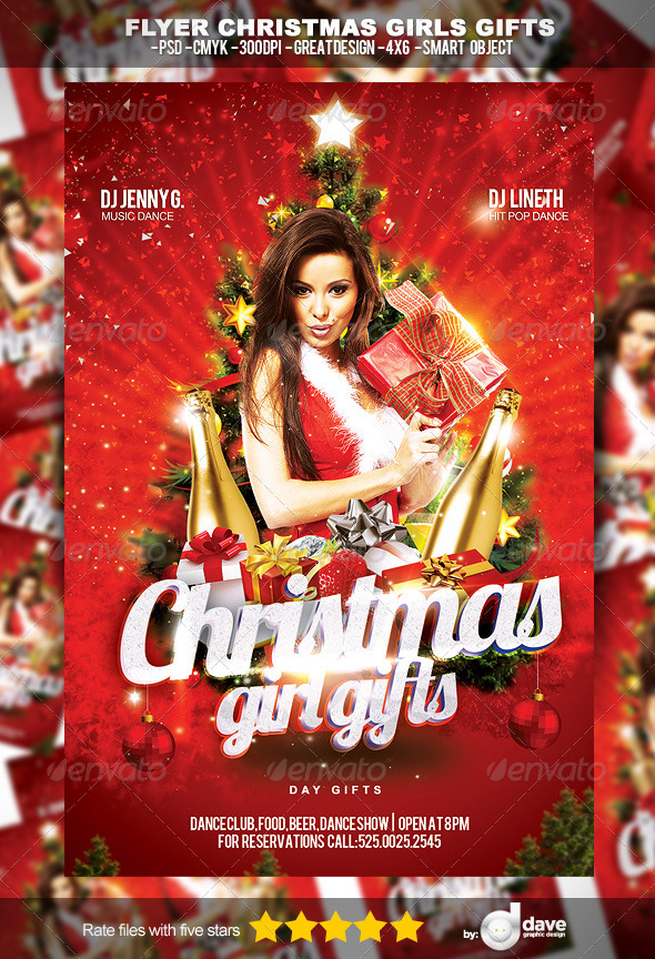 Flyer Christmas Girl Gifts - Clubs & Parties Events