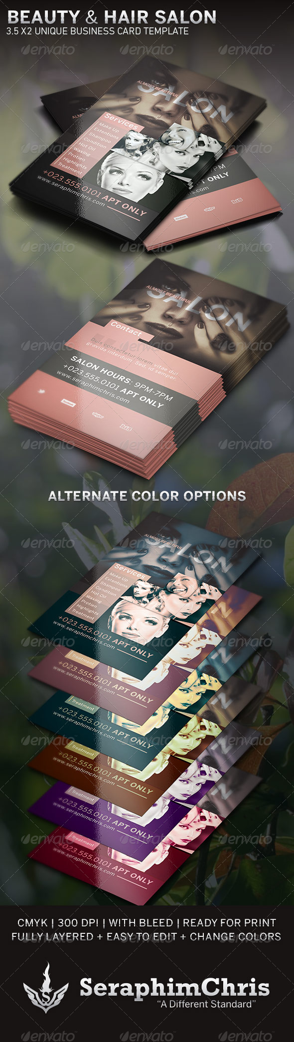 Beauty and Hair Salon BC Template - Business Cards Print Templates
