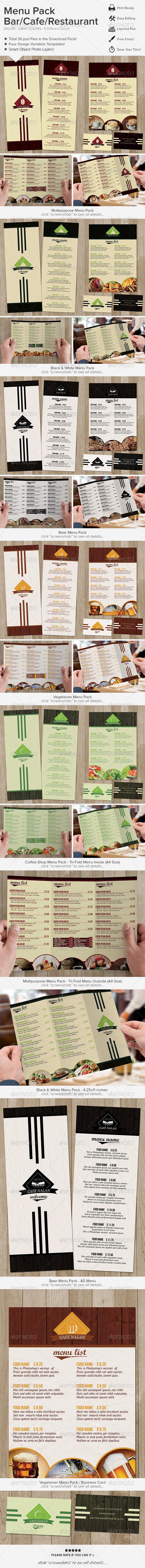 Menu Pack - Bar Cafe Restaurant  - Food Menus Print Templates