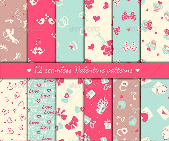 Twelve Valentine's Seamless Patterns - Patterns Decorative