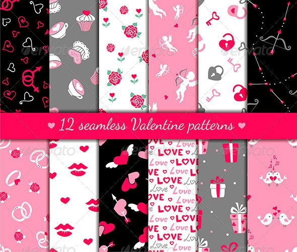 Twelve Valentines Seamless Patterns - Patterns Decorative