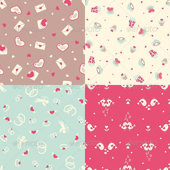 Set of Four Romantic Seamless Pattern - Patterns Decorative