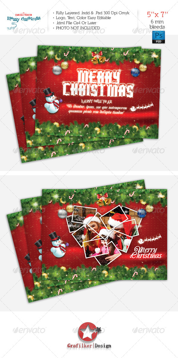 Christmas Postcard Template - Cards & Invites Print Templates