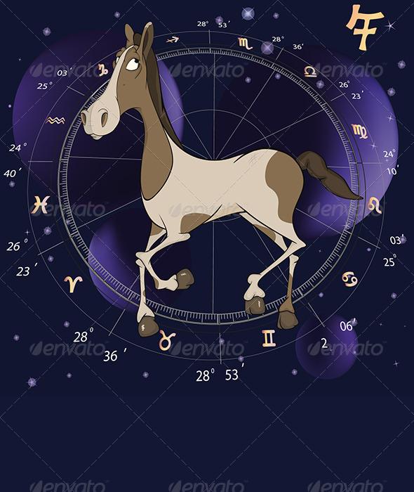 Year of a Horse Cartoon Chinese Horoscope - New Year Seasons/Holidays