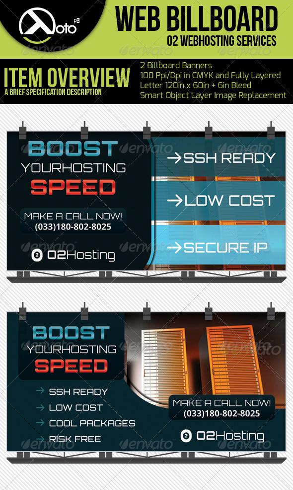 O2 Web Hosting Service Billboard - Signage Print Templates