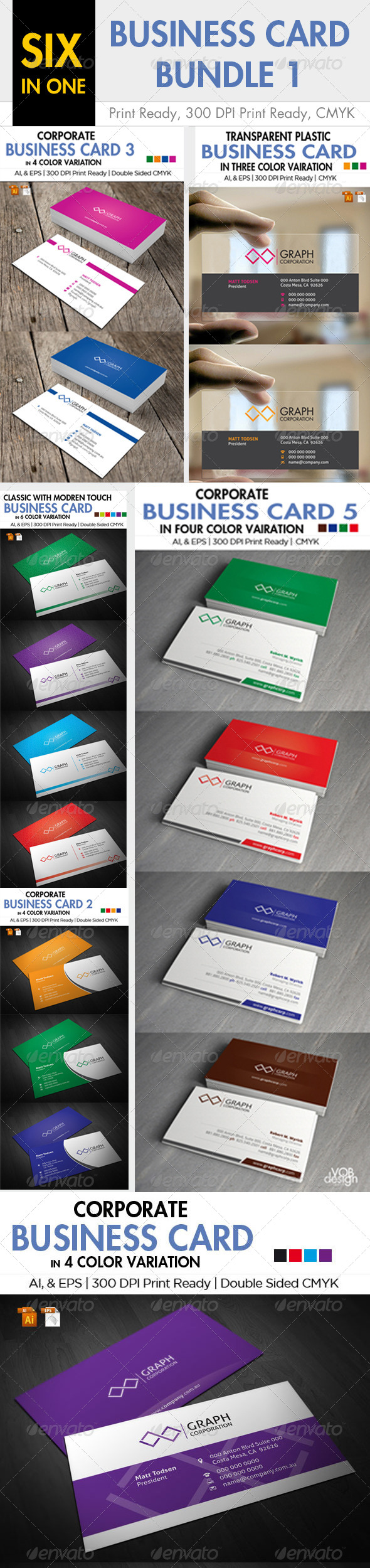 6 in one Business Card Bundle 1 - Business Cards Print Templates