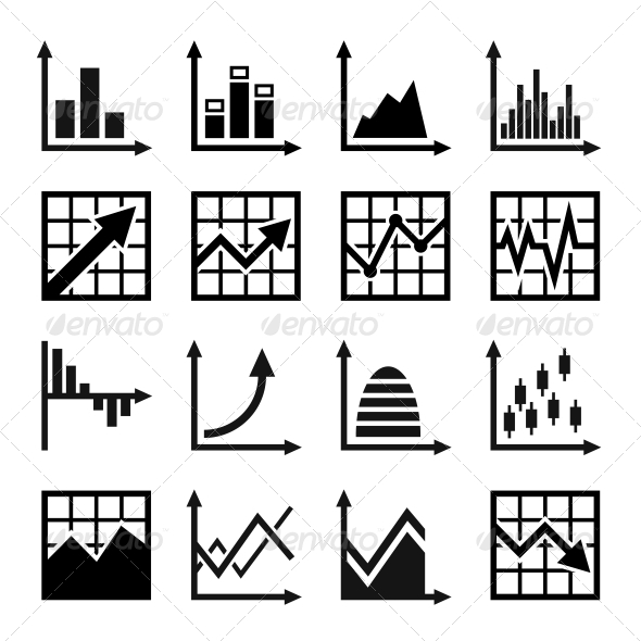 Business Chart and Graphics Icons Set - Business Icons