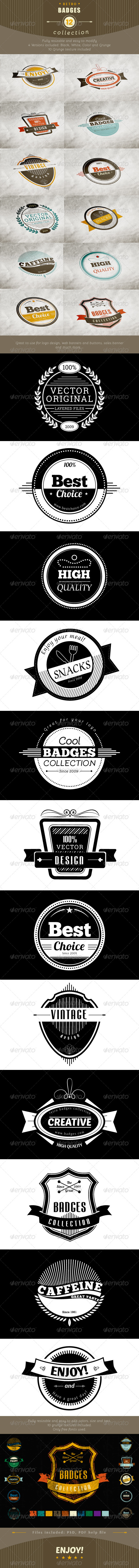 12 Retro and Vintage Badges - Badges & Stickers Web Elements