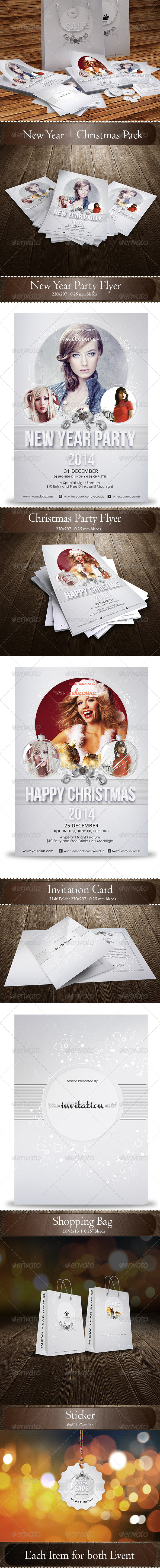 New Year  + Christmas Pack - Events Flyers