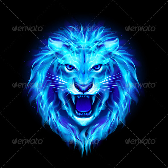 Head of Fire Lion. - Animals Characters