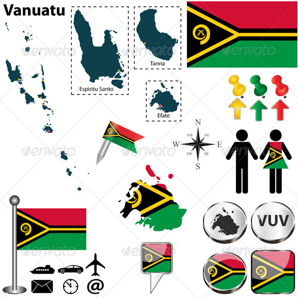 Map of Vanuatu - Travel Conceptual