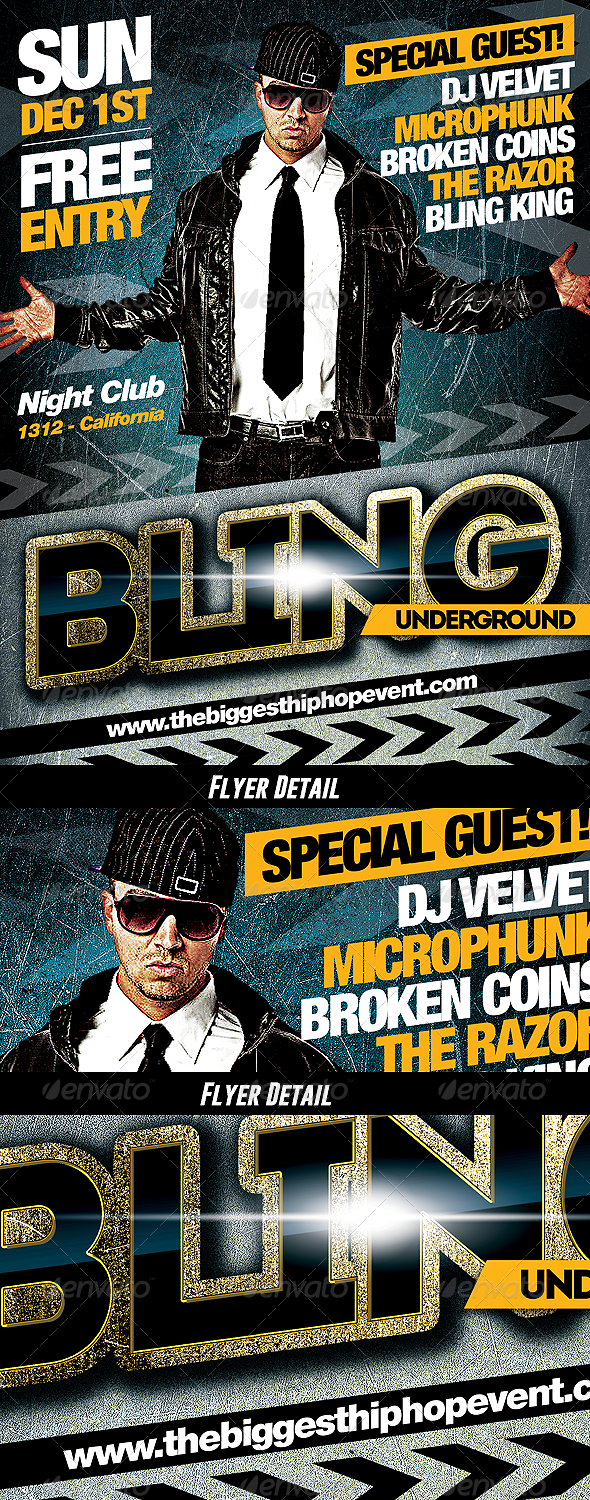 Underground Bling - PSD Hip Hop Music Flyer - Clubs & Parties Events