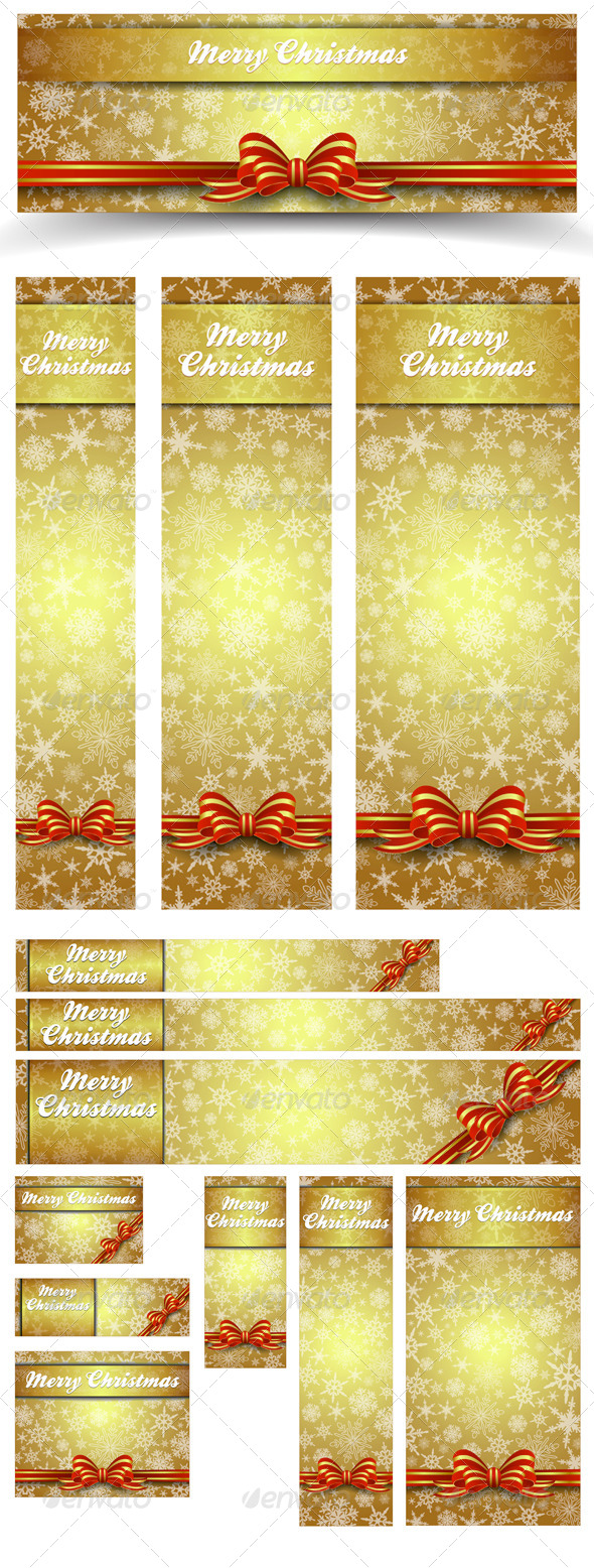 Christmas Snowflakes Gold Web Banners - All Sizes - Christmas Seasons/Holidays