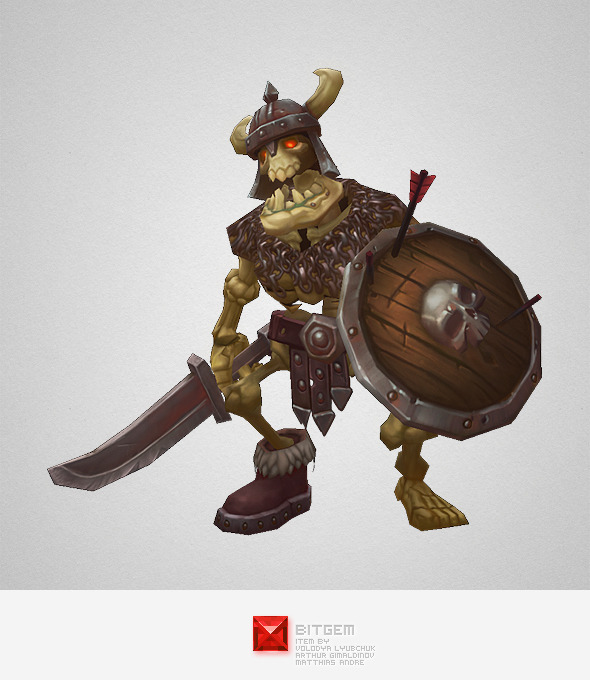 Low Poly Skeleton Swordsman - 3DOcean Item for Sale