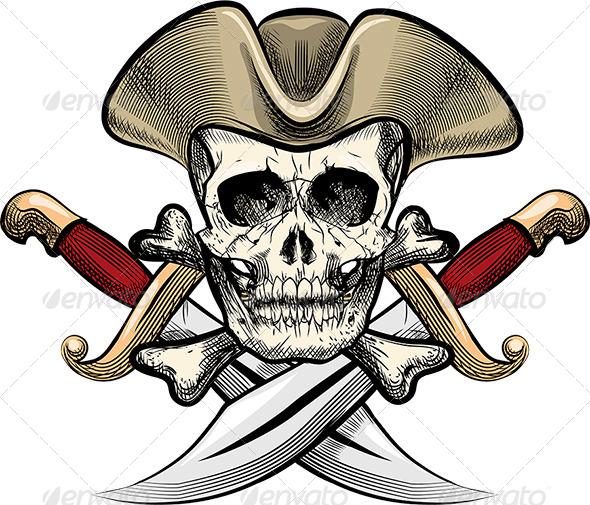Skull in the Hat - Tattoos Vectors