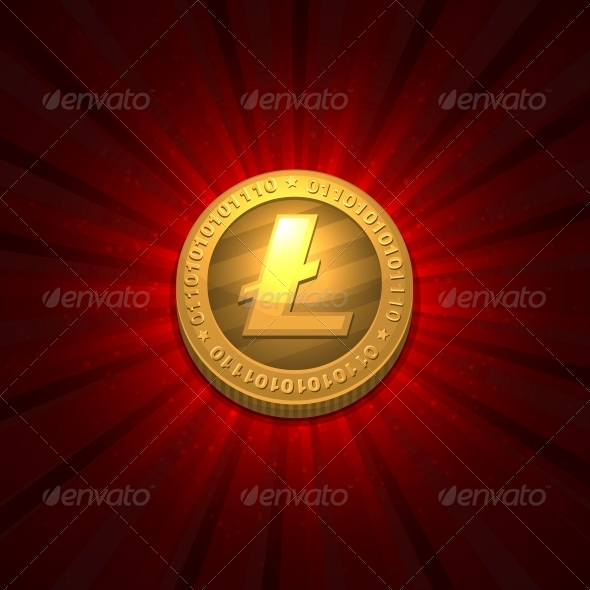 Litecoin on Red Background - Services Commercial / Shopping