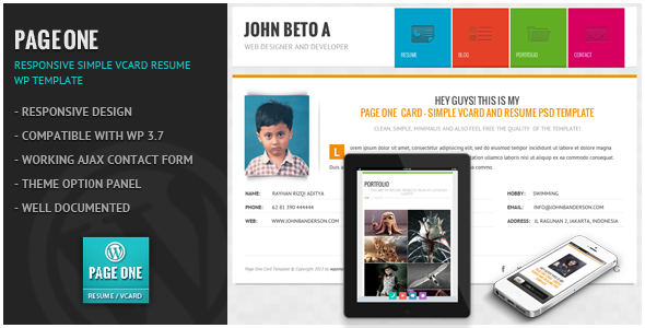 Page One – Responsive Vcard CV Resume WP Theme
