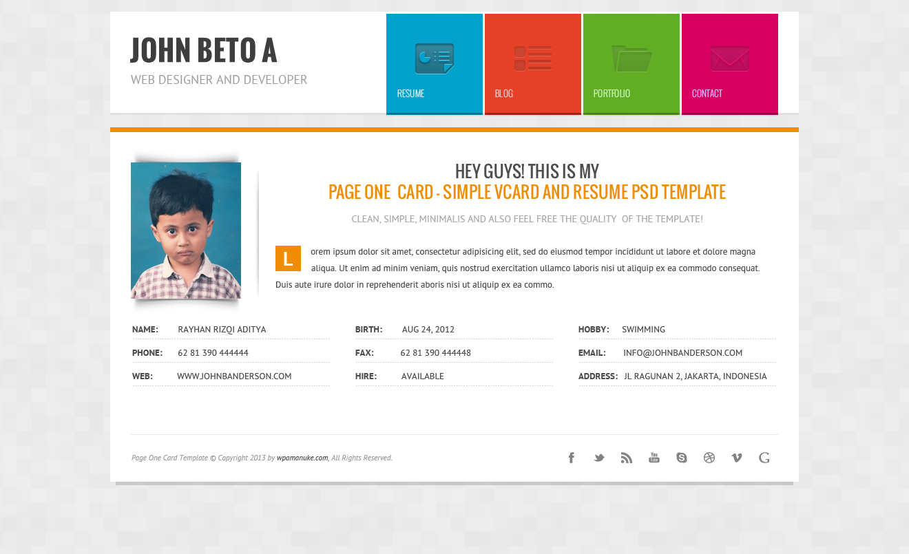 Page One Responsive Vcard Cv Resume Wp Theme By