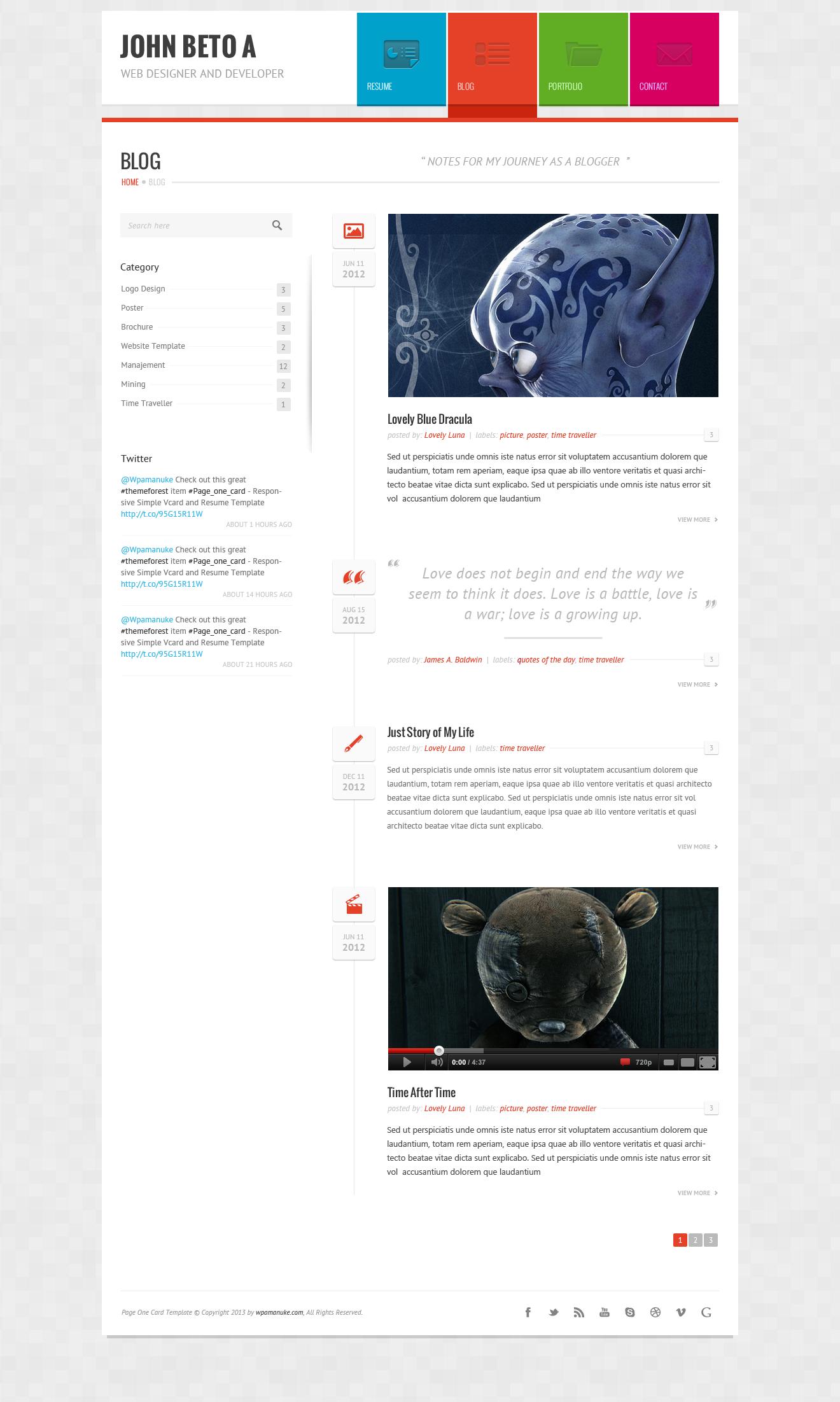 page one responsive vcard cv resume wp theme by wpamanuke