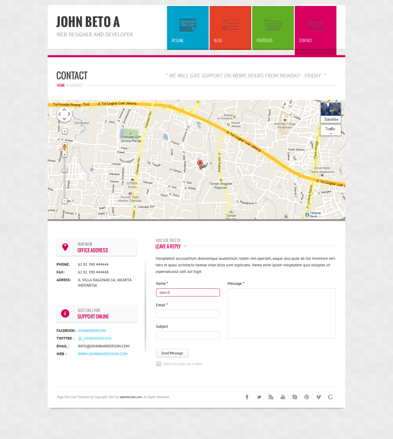 page one responsive vcard cv resume wp theme