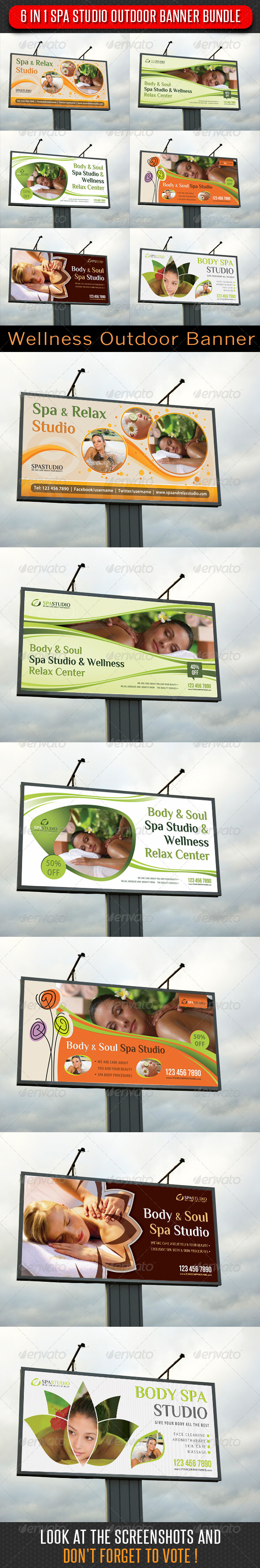 6 in 1 Spa Studio Outdoor Banner Bundle - Signage Print Templates