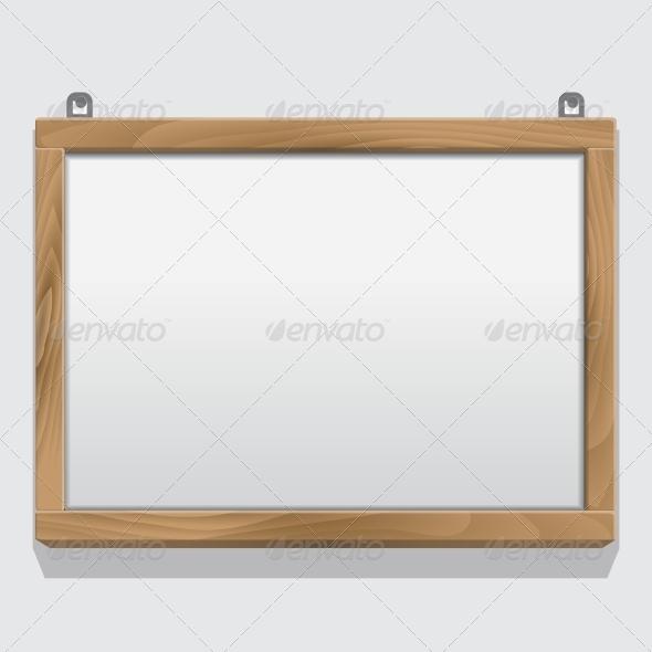 Wood Frame Isolated on White - Borders Decorative