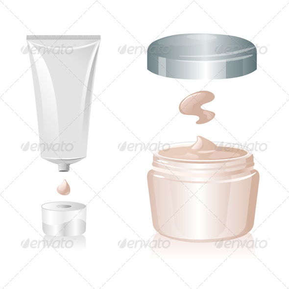 Tube and Bottle of Cream Isolated - Health/Medicine Conceptual