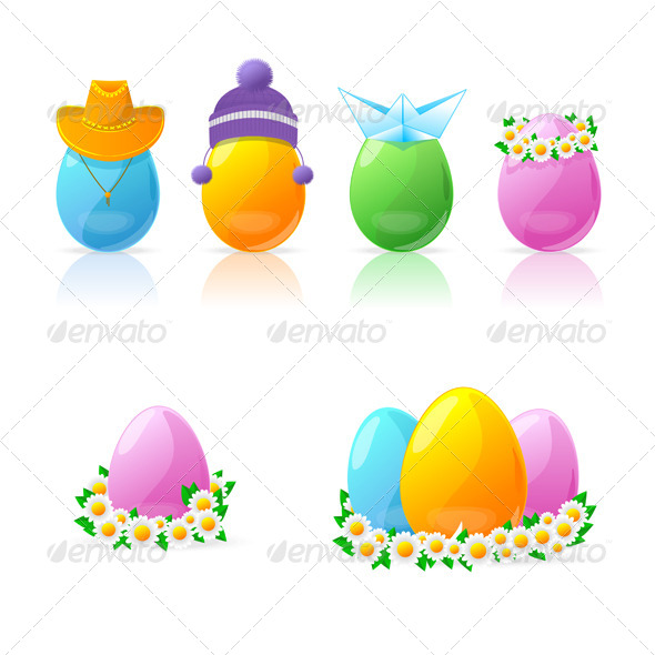 Set of Colorful Easter Eggs - Decorative Symbols Decorative